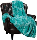 Chanasya Super Soft Shaggy Fuzzy Fur Fluffy Faux Fur Warm Elegant Cozy with Sherpa Geometric Pattern Plush Teal Blue Throw Blanket - Geometric Pattern Teal
