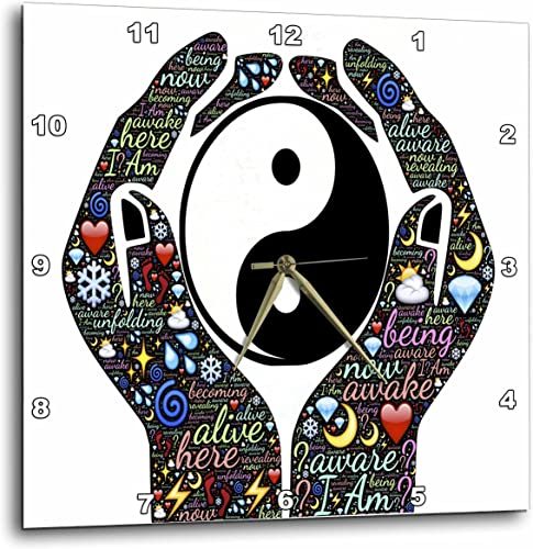 3dRose Motivational Cupped Hands with Sayings and Yin and Yang Sign – Wall Clock, 15 by 15-Inch DPP_214650_3
