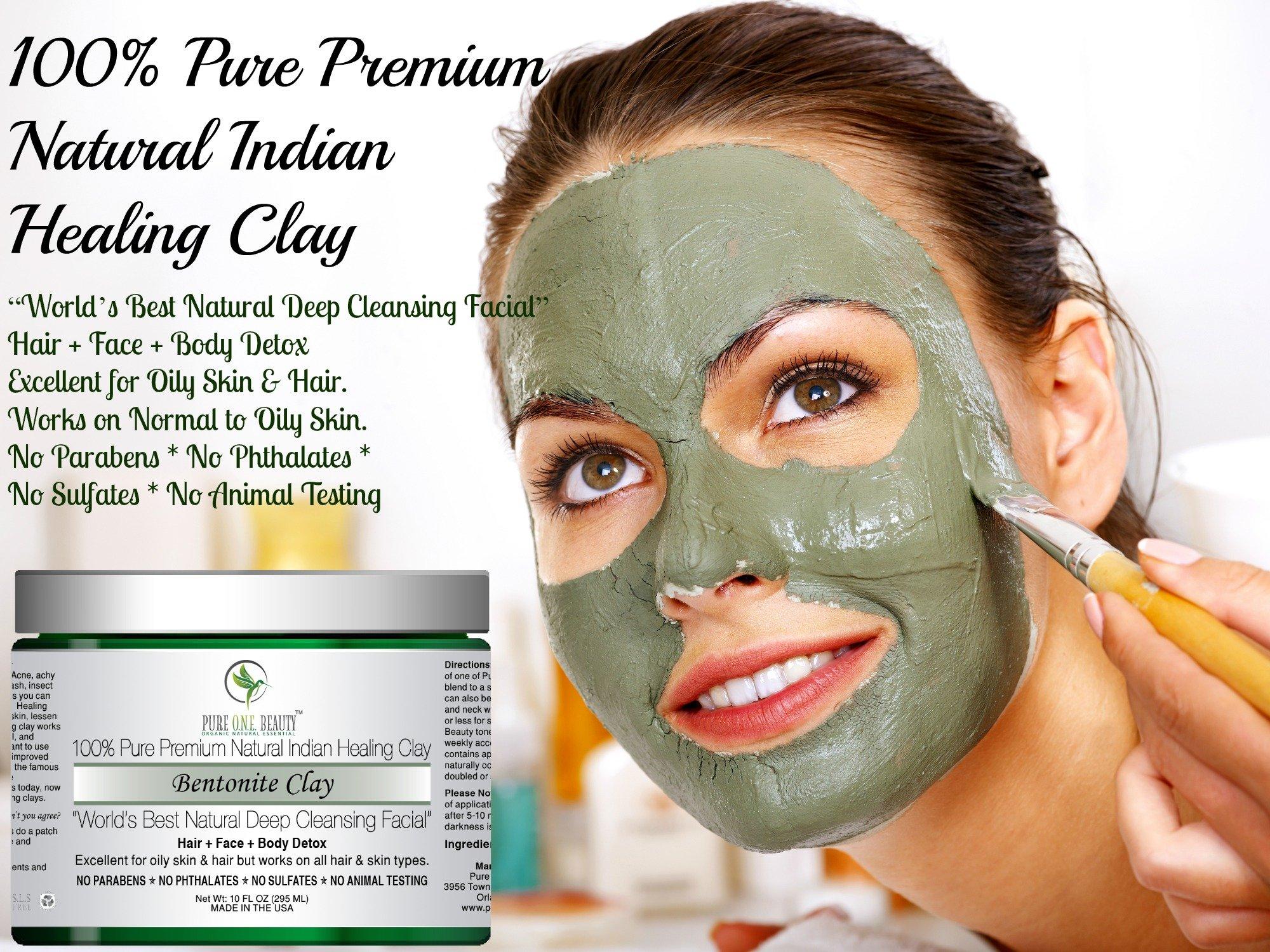 100% Pure Premium Natural Indian Healing Clay; Bentonite Clay: World's Best Natural Deep Cleansing Facial