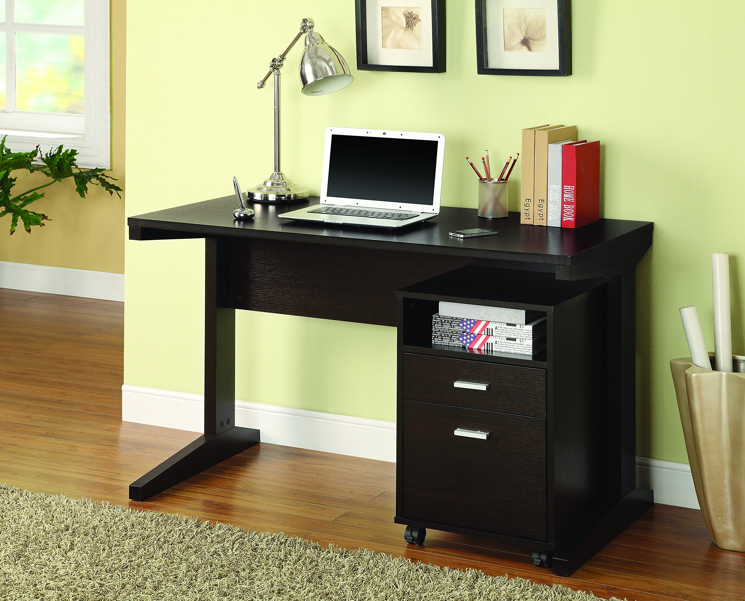 2-Piece Writing Desk Set with Rolling File Cabinet Cappuccino by Coaster Home Furnishings
