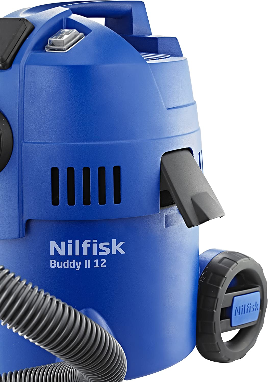 NILFISK Aspirador de Bricolaje Buddy II 12, con o sin Bolsa, 1200 W, 12 litros, 74 Decibelios, Azul: Amazon.es: Bricolaje y herramientas