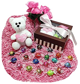 Deluxe Mothers Day Gift Basket Box Lindt Gourmet Chocolate Truffles Floral Accent Plush