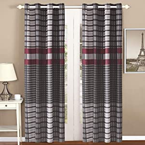 All American Collection 2 PC Plaid Printed Modern Contemporary Bedroom Home Decor Curtain Set