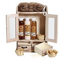 BRUBAKER Cosmetics - Coffret de bain - Noix de coco - 10 Pièces - Armoire en Bois - Idée cadeau