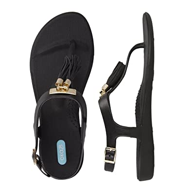 d70bc4cbb31c86 Tasha Flip Flop Sandal Shoes with Ankle Strap by OkaB Color Licorice with  Black Suede Tassels