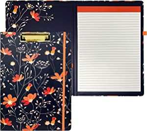 Steel Mill & Co Cute Clipboard Folio with Refillable Lined Notepad and Interior Storage Pocket for Women, Stylish Navy Blue and Coral Clipfolio, Floral Vines