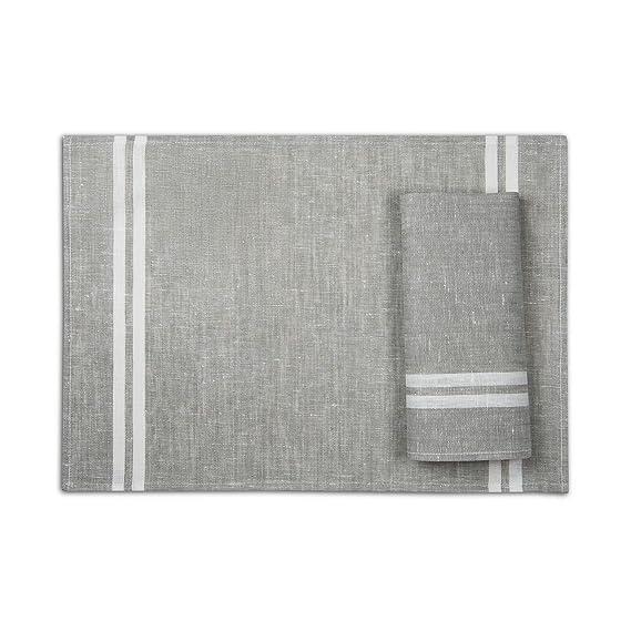 4-er Pack Leinen Platzsets -Tischsets Stoff - 50 x 35 cm - Farbe Grau/ Varvara Home 1709