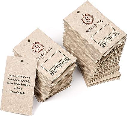 Etiquetas ropa personalizadas para tienda, 85x55 mm, cartón grueso reciclado 450g/m², colgantes, con logo y texto - 250 uds (Kraft/reciclado): Amazon.es: Oficina y papelería