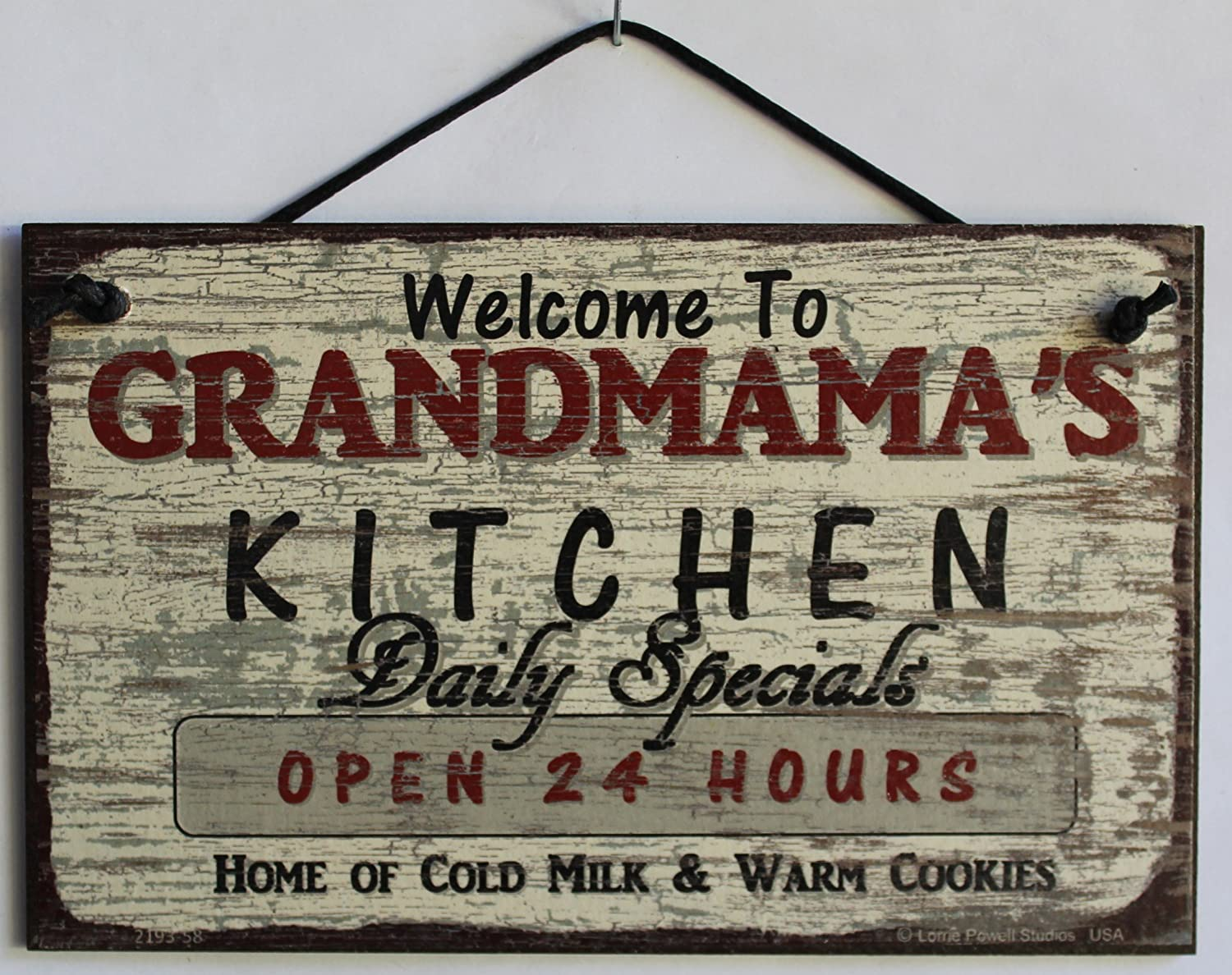 Egbert's Treasures 5x8 Vintage Style Sign Saying, Welcome to GRANDMAMA'S Kitchen Daily Specials Open 24 Hours Home of Cold Milk & Warm Cookies Decorative Fun Universal Household Signs from