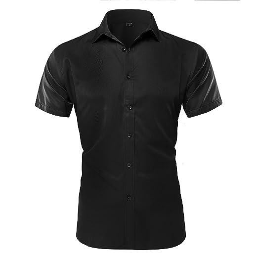 Musen Men Short Sleeve Dress Shirt Slim Fit Business Button Down