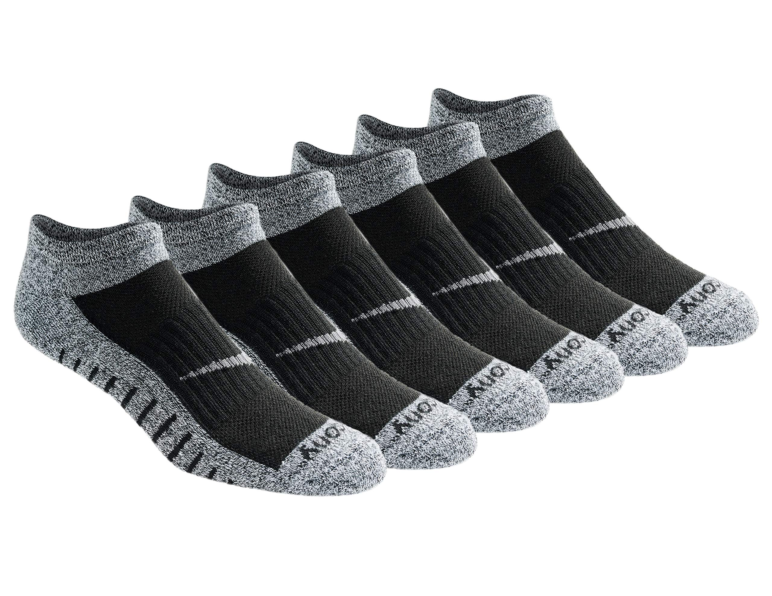 Saucony Men's Multi Pack Mesh Ventilating  Performance Comfort Fit No-Show Socks, Black/White Assorted (6 Pack), Shoe Size: 8-12 by Saucony