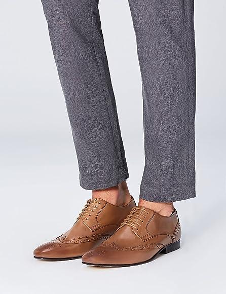 find. Zapato Blucher de Piel con Calados para Hombre, Marrón (Tan ...