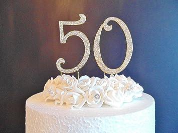 50 Kuchen Dekoration Grosse 12 Cm Golden Zahlen Mit Diamant Klar