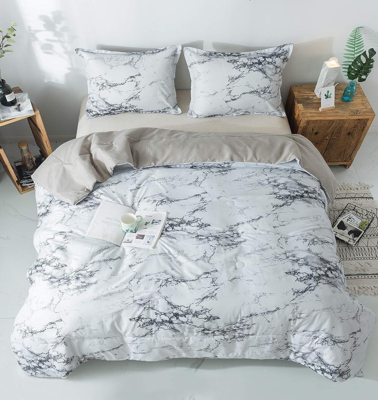 "PomCo Marble Comforter Set Queen (90""x90""), 3pcs Soft Lightweight Microfiber Comforter Set-1 Comforter and 2 Pillowcases, Modern Grey Marble Print Bedding Set for Kid, Teen, Men, Women, Boy, Girl"