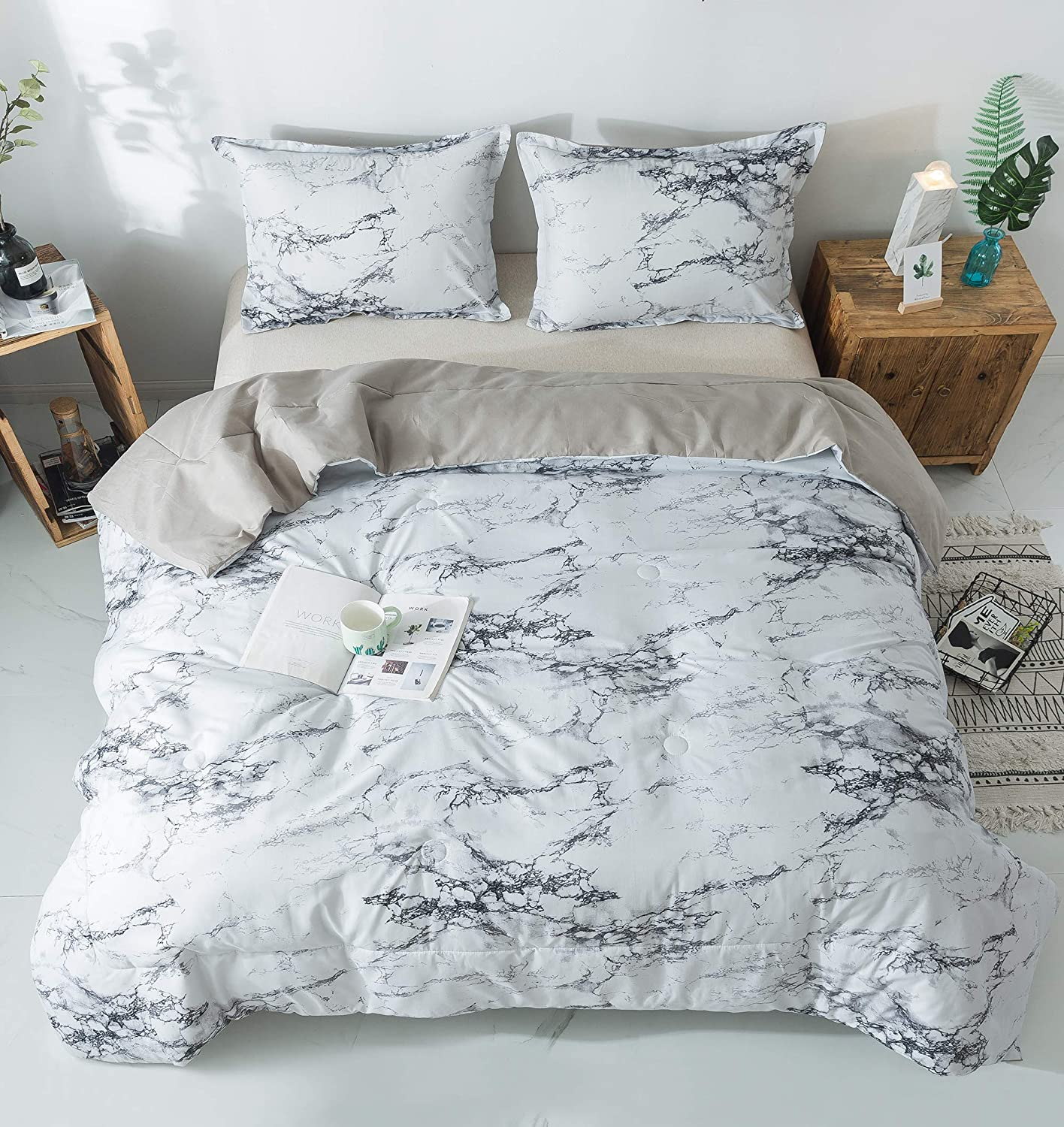 PomCo Marble Comforter Queen (90x90 Inch), 3Pcs(1 Marble Comforter & 2 Pillowcases) Grey Marble Print Microfiber Bedding Set, Modern Marble Pattern Comforter Set for Men, Women, Boy, Girl