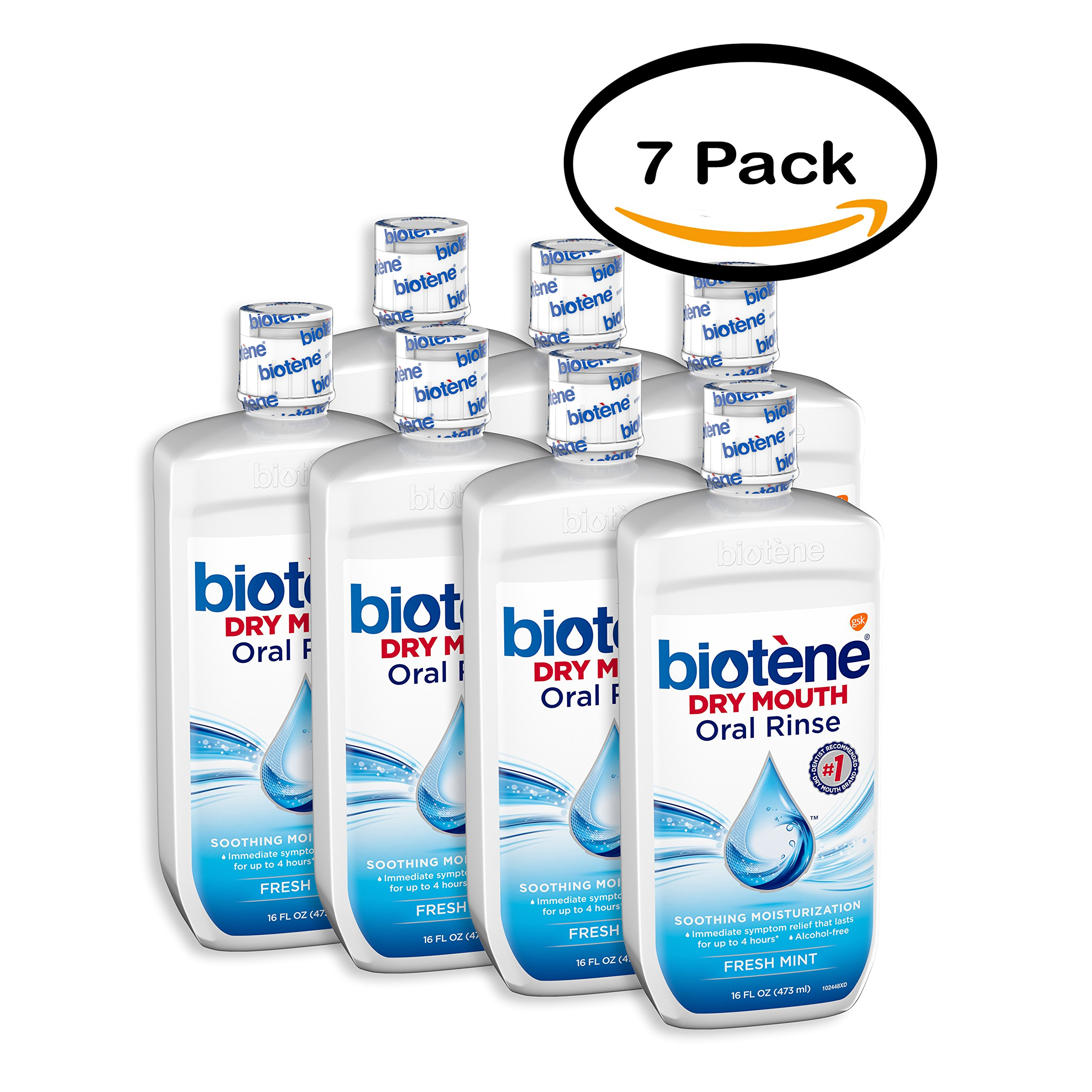 PACK OF 7 - Biotene Dry Mouth Mouthwash, Fresh Mint Flavor, 16 fl oz