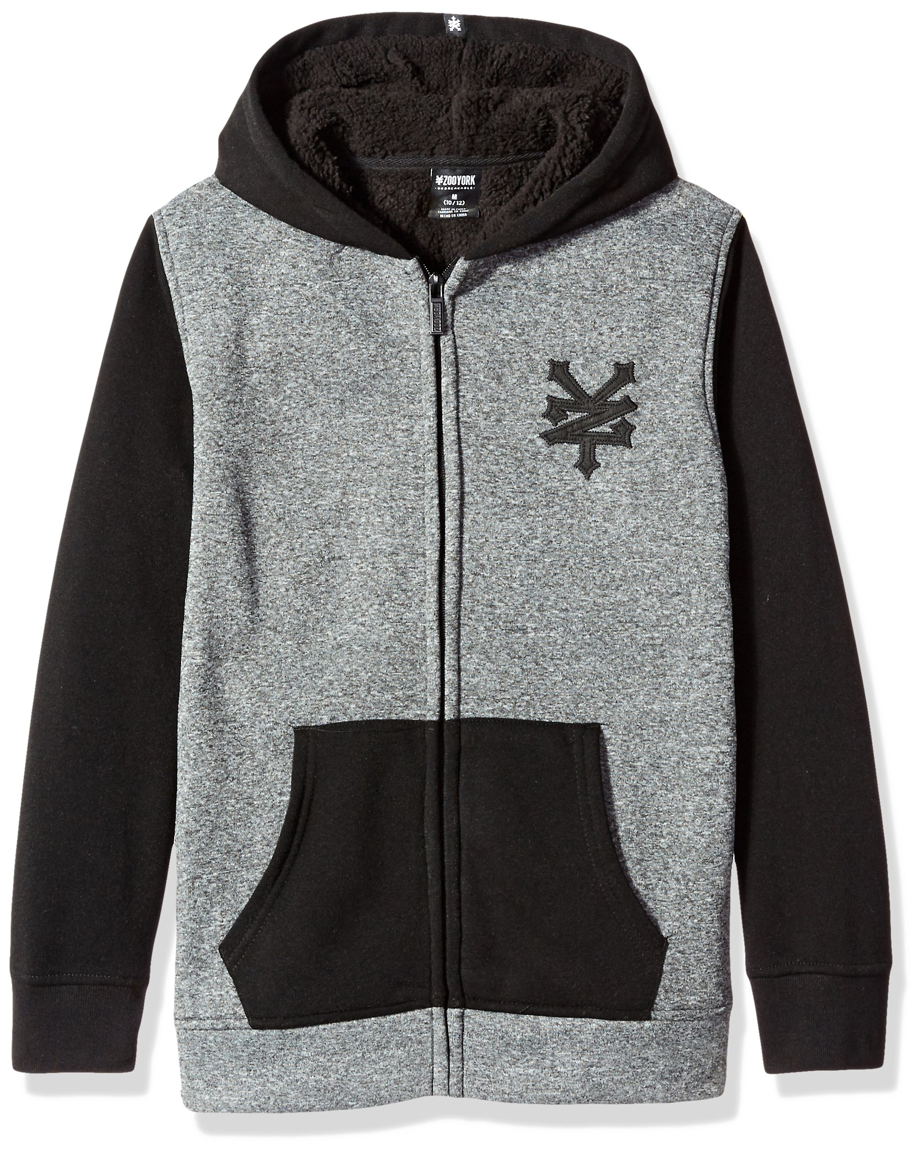 Zoo York Big Boys' Hoodie with Sherpa Lining, Cracker Black Heather, Large (14/16)