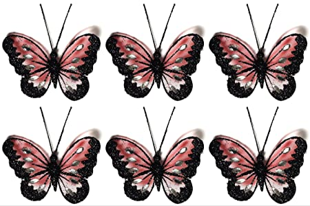 Set Of 6 Clip On Glittered Mesh Decorative Butterflies 8cm Pink