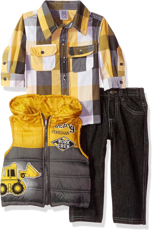 Little Rebels Little Boys 3 Piece Foreman Work Crew Vest And Pant Set