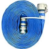 JGB Enterprises A008-0326-0101 Eagle Flo Blue PVC Discharge Hose, 2' x 25', Type C and E Cam Locks, 80 psi Working…