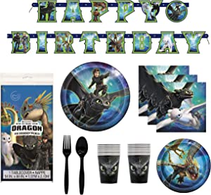 How To Train Your Dragon 3 Birthday Decorations And Tableware Plates Napkins Cups Table Cover Banner Premium Plastic Cutlery Serves 16