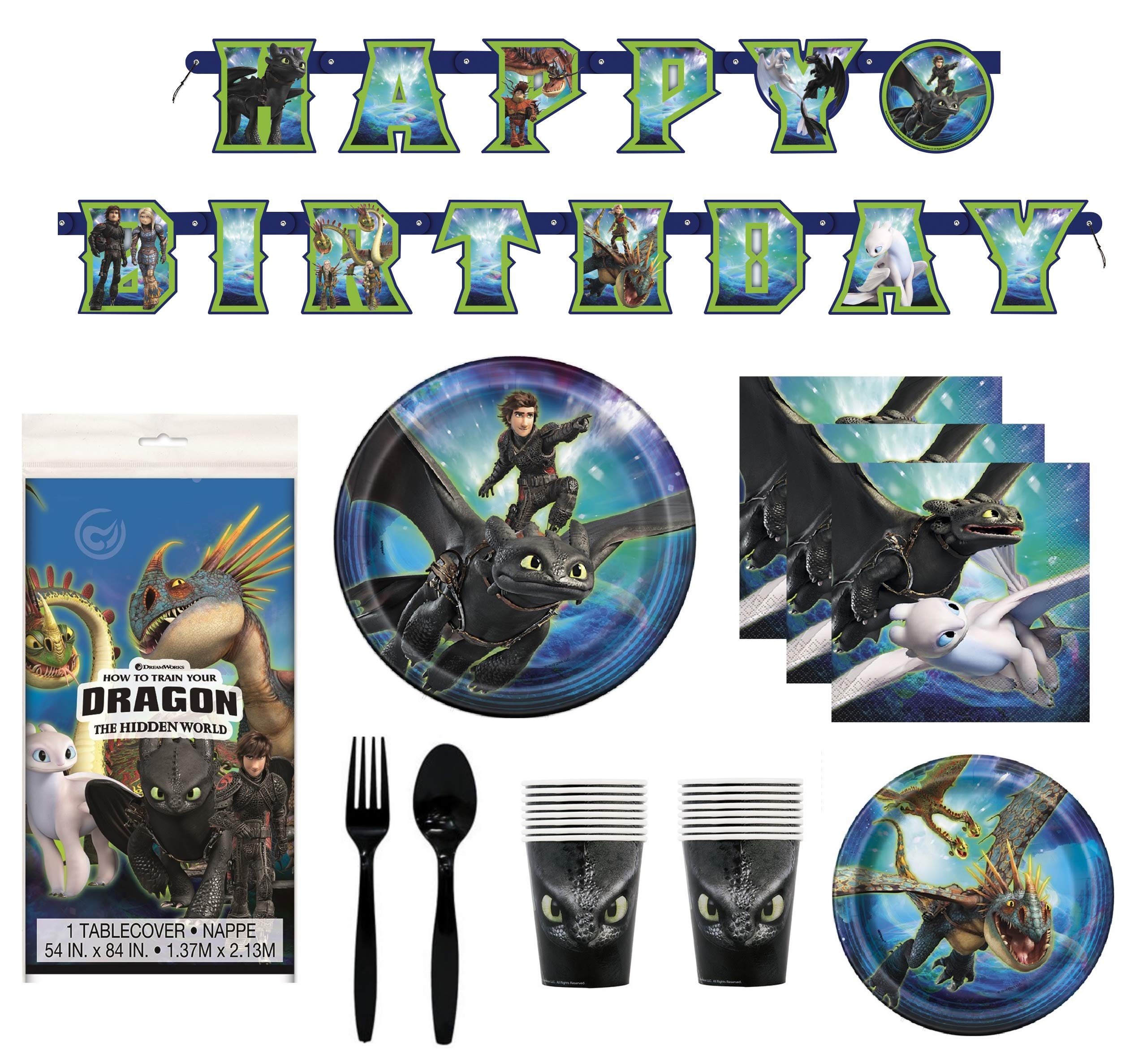 How To Train Your Dragon 3 Birthday Decorations And Tableware Plates Napkins Cups Table Cover Banner Premium Plastic Cutlery Serves 16 by FAKKOS Design