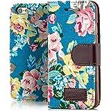 iPhone 6 / 6S Hülle Flip Tasche [Saxonia] Schutzhülle Case mit Kartenfach Motiv Blumen Blau