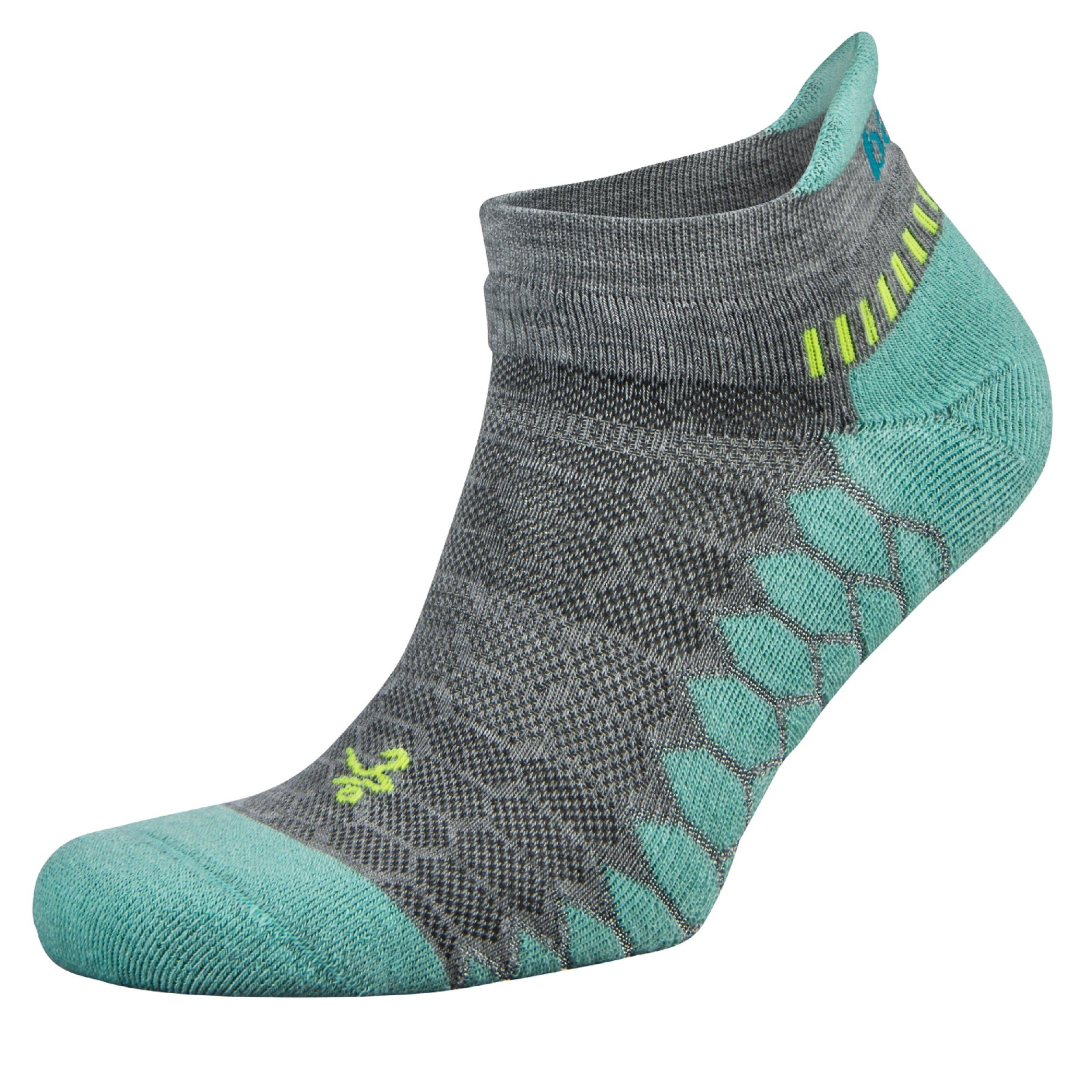 Balega Silver Antimicrobial No-Show Compression-Fit Running Socks for Men and Women (1-Pair), Midgrey/Aqua, Small by Balega