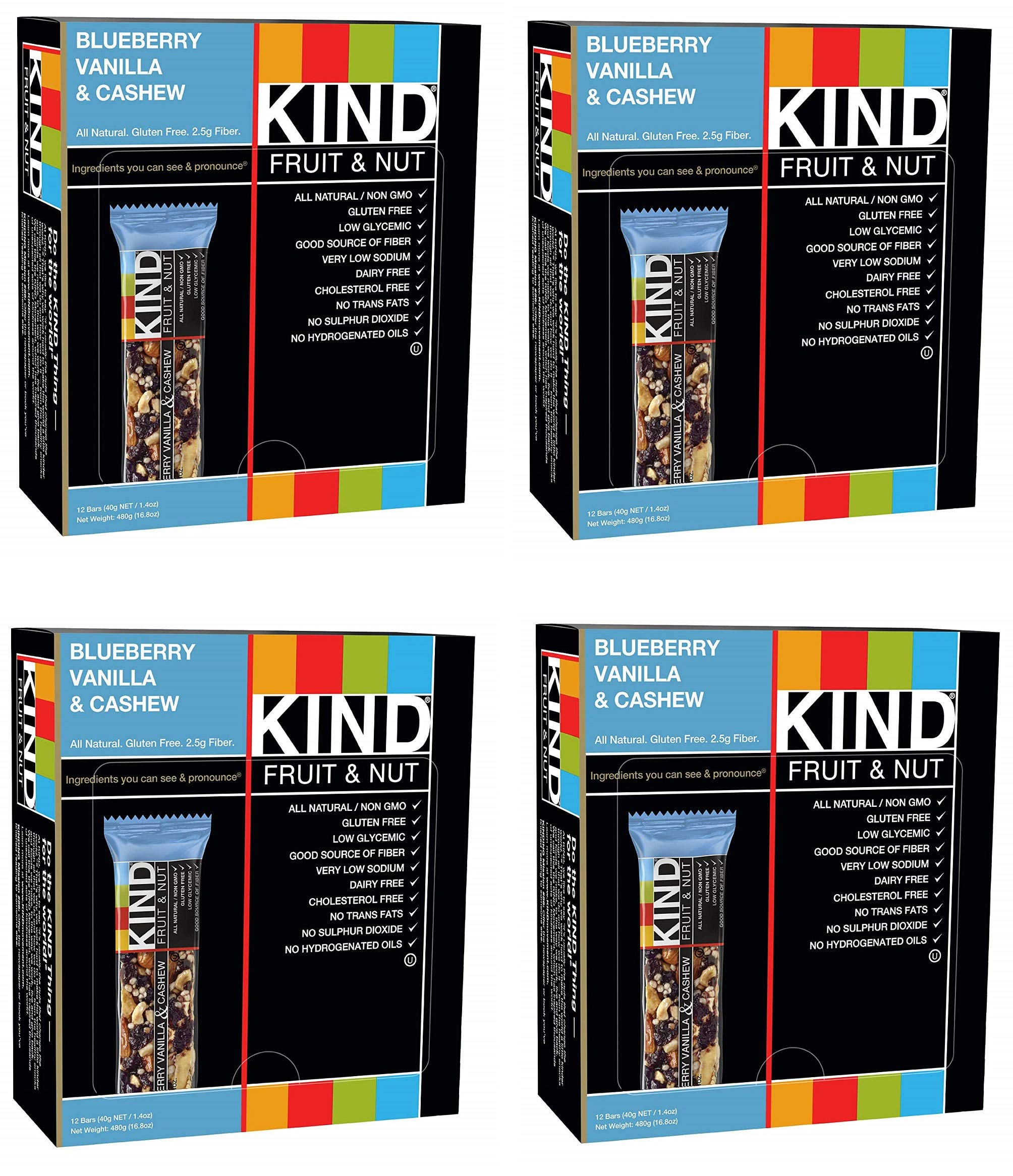 KIND Bars, Blueberry Vanilla and Cashew, Gluten Free, Low Sugar, 1.4oz, 48 Bars