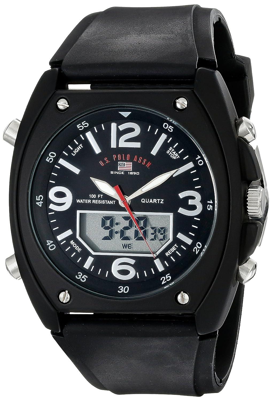 Amazon.com : Hombres US9052 Analógico-Digital Negro Dial Negro correa de caucho reloj : Sports & Outdoors
