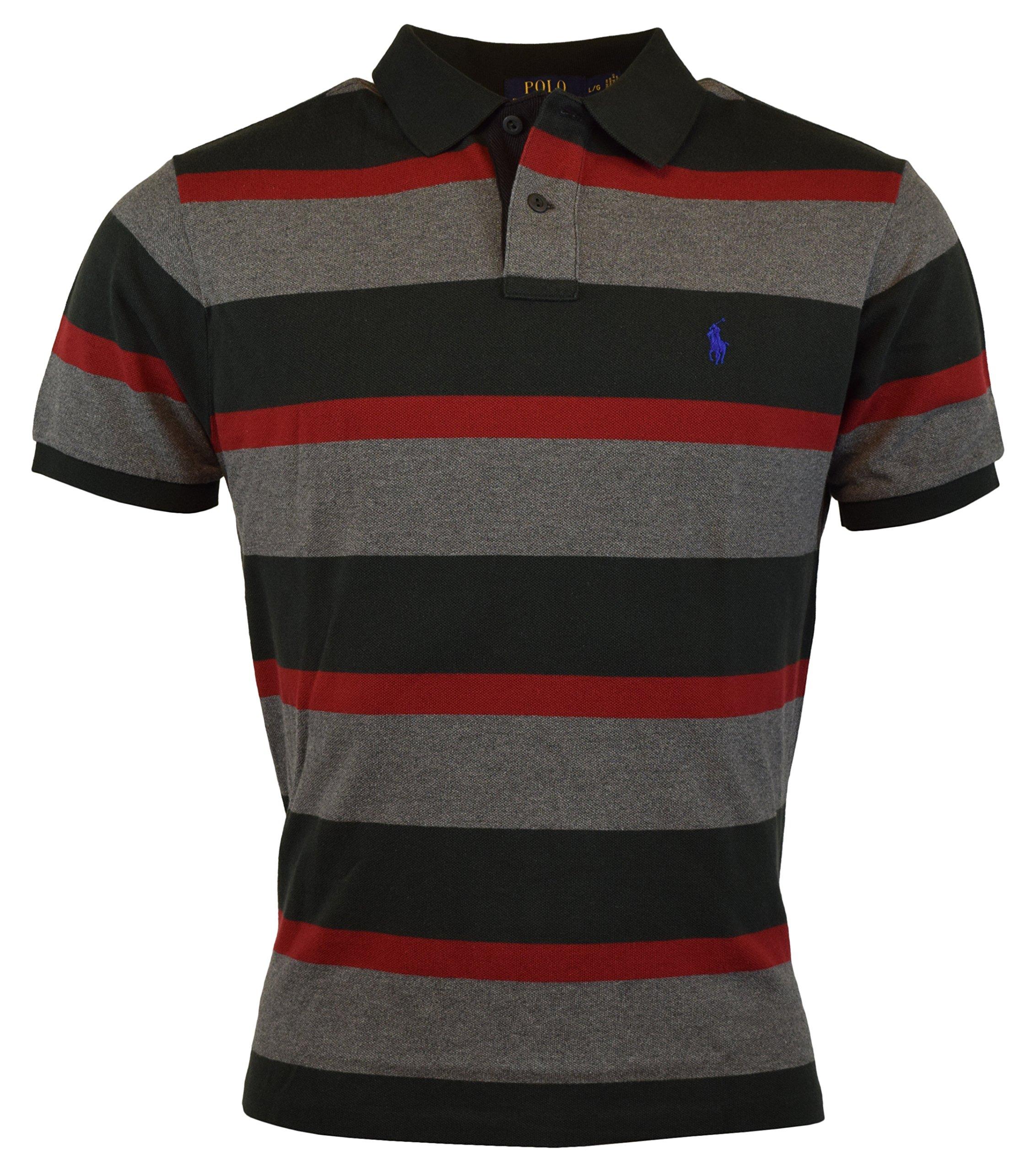 Polo Ralph Lauren Mens Custom Fit Mesh Striped Polo Shirt - XS - Boot Black