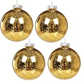 "KI Store Christmas Mercury Ball Ornaments Outdoor Hanging Tree Decorations Large Shatterproof Shinny Vintage Balls Set of 4(4"" Gold)"