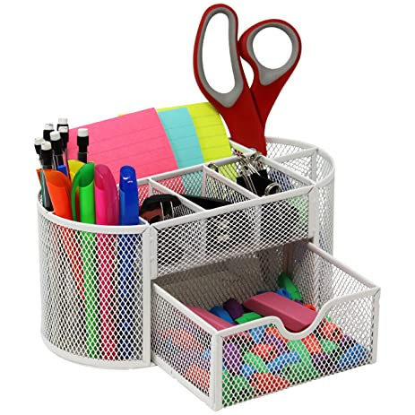Amazon.com : Mesh Desk Organizer Caddy For Office Supplies And Desk ...