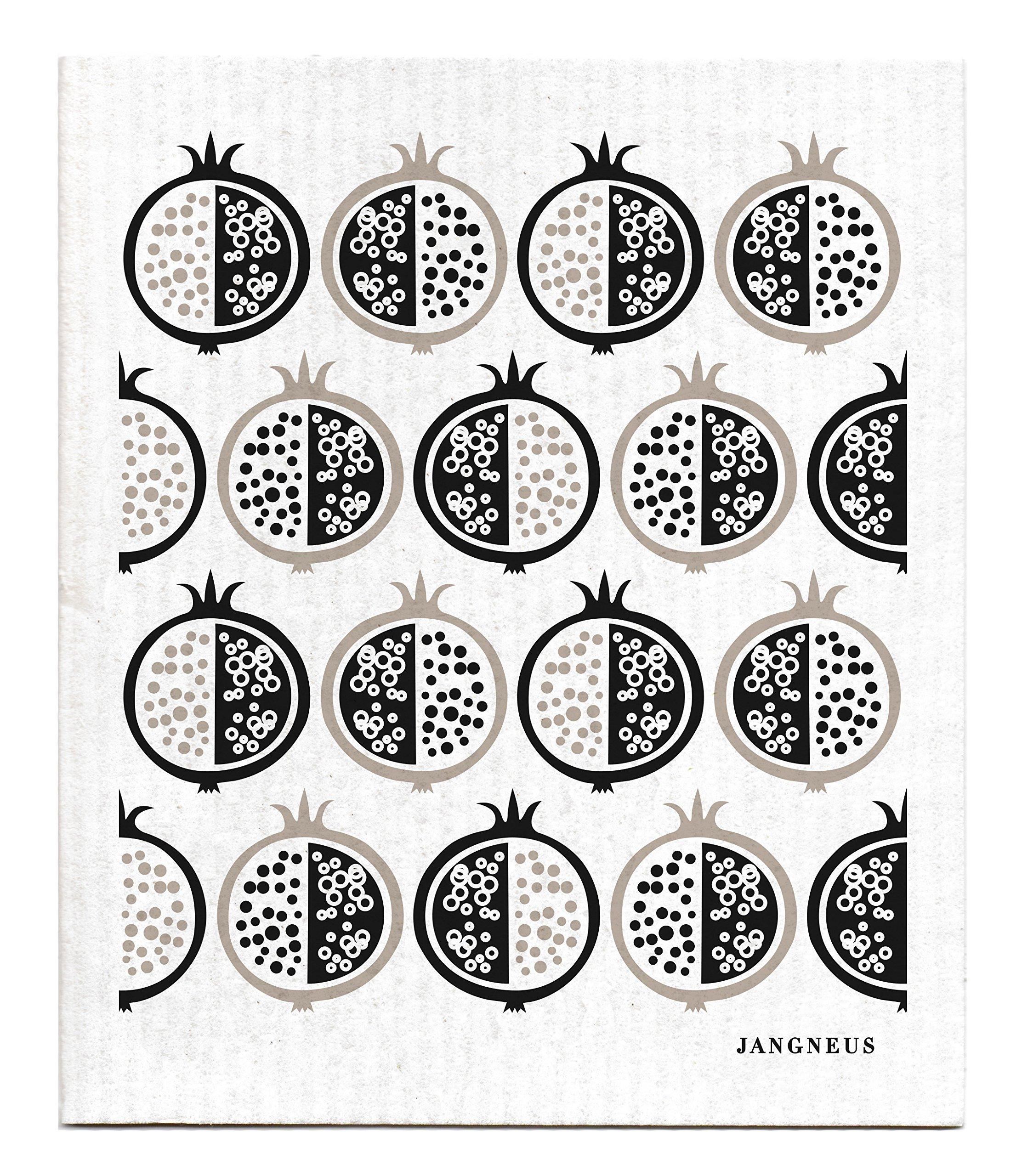 Swedish Dishcloth, Set of 4 BLACK & GREY (DX) Sheep, Pomegranate & Flowers