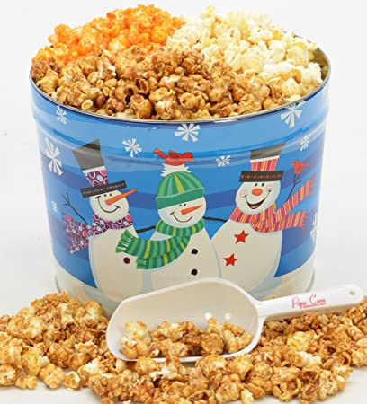 christmas popcorn tin 2 large gallons 3 flavors free scooper