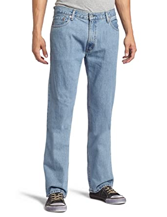 Levi Men's 505 Regular Fit Straight Leg Jeans 34x31 Light Stonewash (4834)