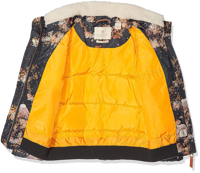 Scotch /& Soda Girls Puffer Jacket with Detachable Teddy Collar in Short Length