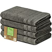 """Eco Linen Fancy Organic Bath Towels 100% Highly Absorbent Combed Cotton, Value Bath Towel Collection, 27"""" x 52"""", Set of 4, Grey"""