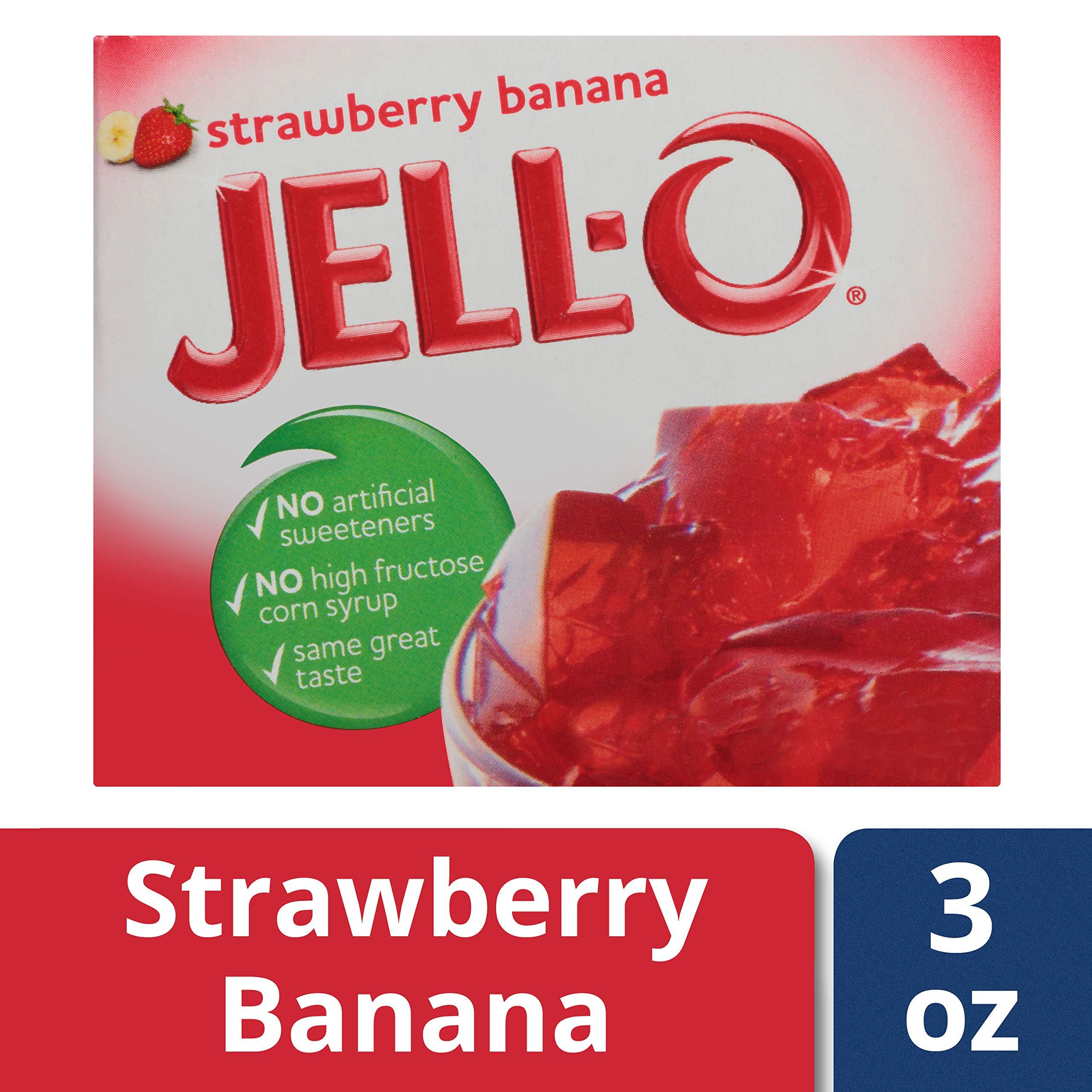 Jell-O Strawberry Banana Gelatin Dessert Mix, 3 oz Box