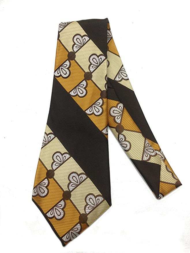 New 1940s Men's Ties, Neckties, Pocket Squares Art Deco Geometric Necktie - Vintage Jacquard Weave Wide Kipper Tie $25.95 AT vintagedancer.com