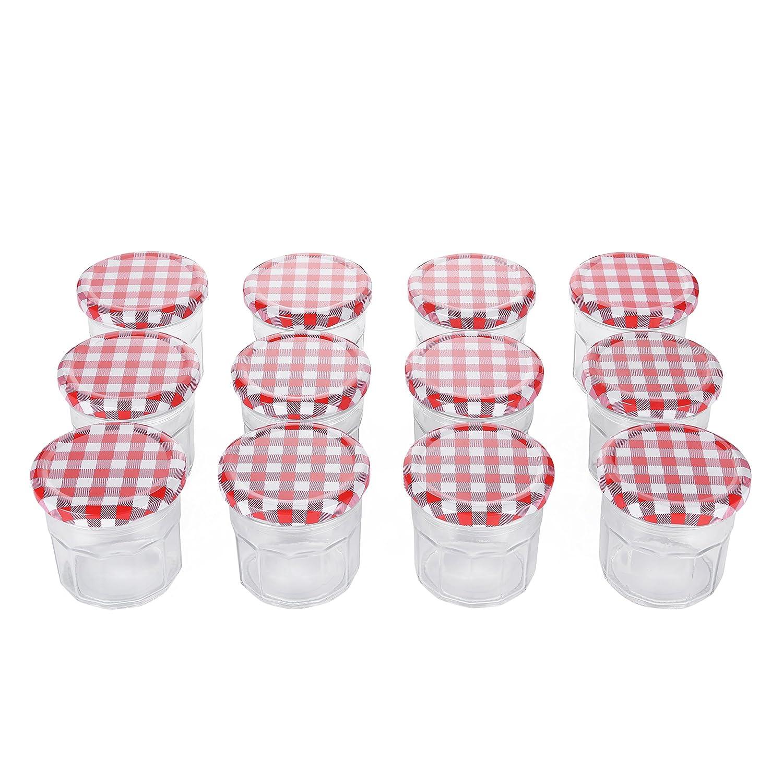 Amazon.com: Klean Shop Jam Jars With Lids - Red Lid Jam Jar Set ...