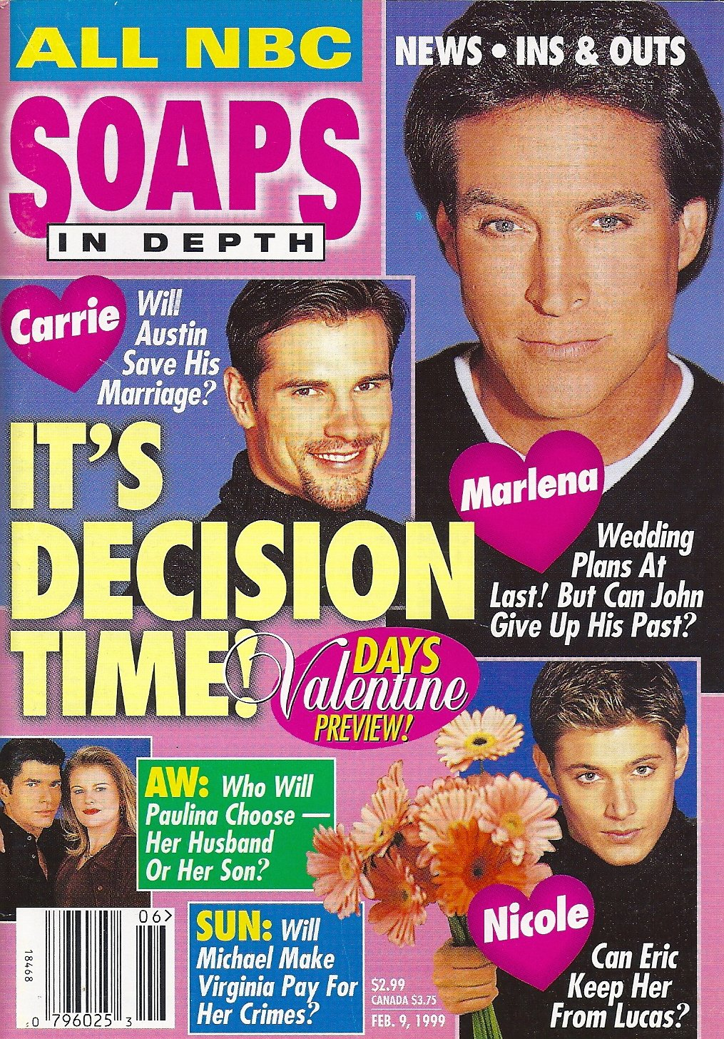 Drake Hogestyn Austin Peck Jensen Ackles Days Of Our Lives February 9 1999 Nbc Soaps In Depth Magazine Soap Opera Dawn Mazzurco Amazon Com Books