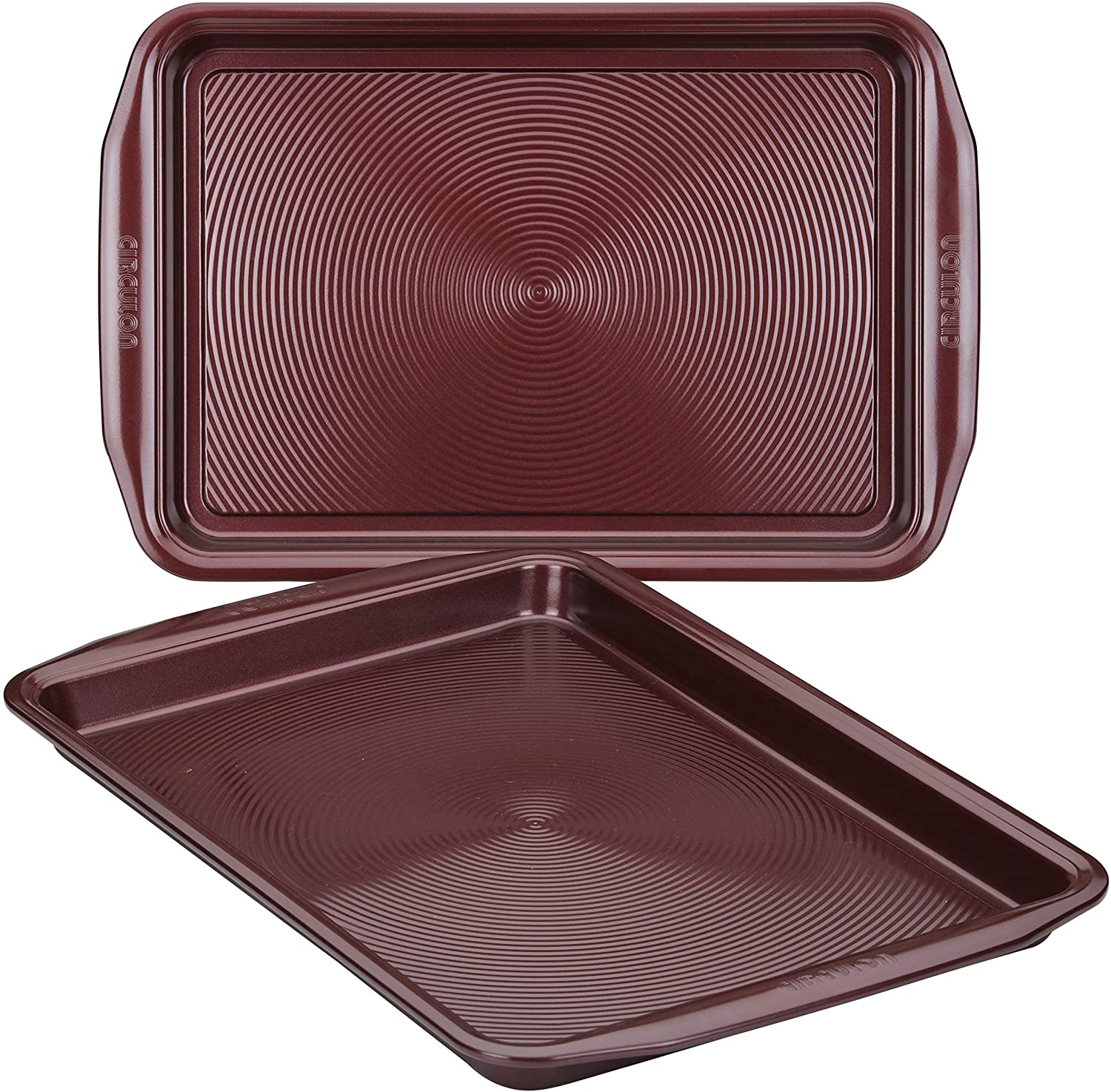 Circulon 47738 Nonstick Bakeware Set, Nonstick Cookie Sheets / Baking Sheets - 2 Piece, Merlot Red