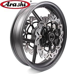 Arashi Front Wheel Rim and Brake Disc Rotors for KAWASAKI NINJA ZX10R 2006-2010 / ZX6R 2005-2012 / Z750 2007 2008 Motorcycle Accessories Ninja ZX-6R ZX-10R Z 750 Matte Black 2009 2010 2011