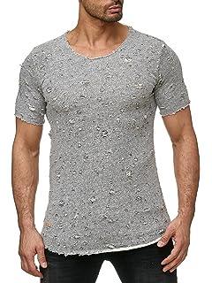 edf4c40b7961 Herren Shirts,Frashing Männer Mode Runde Kragen Loch Tees Shirt ...