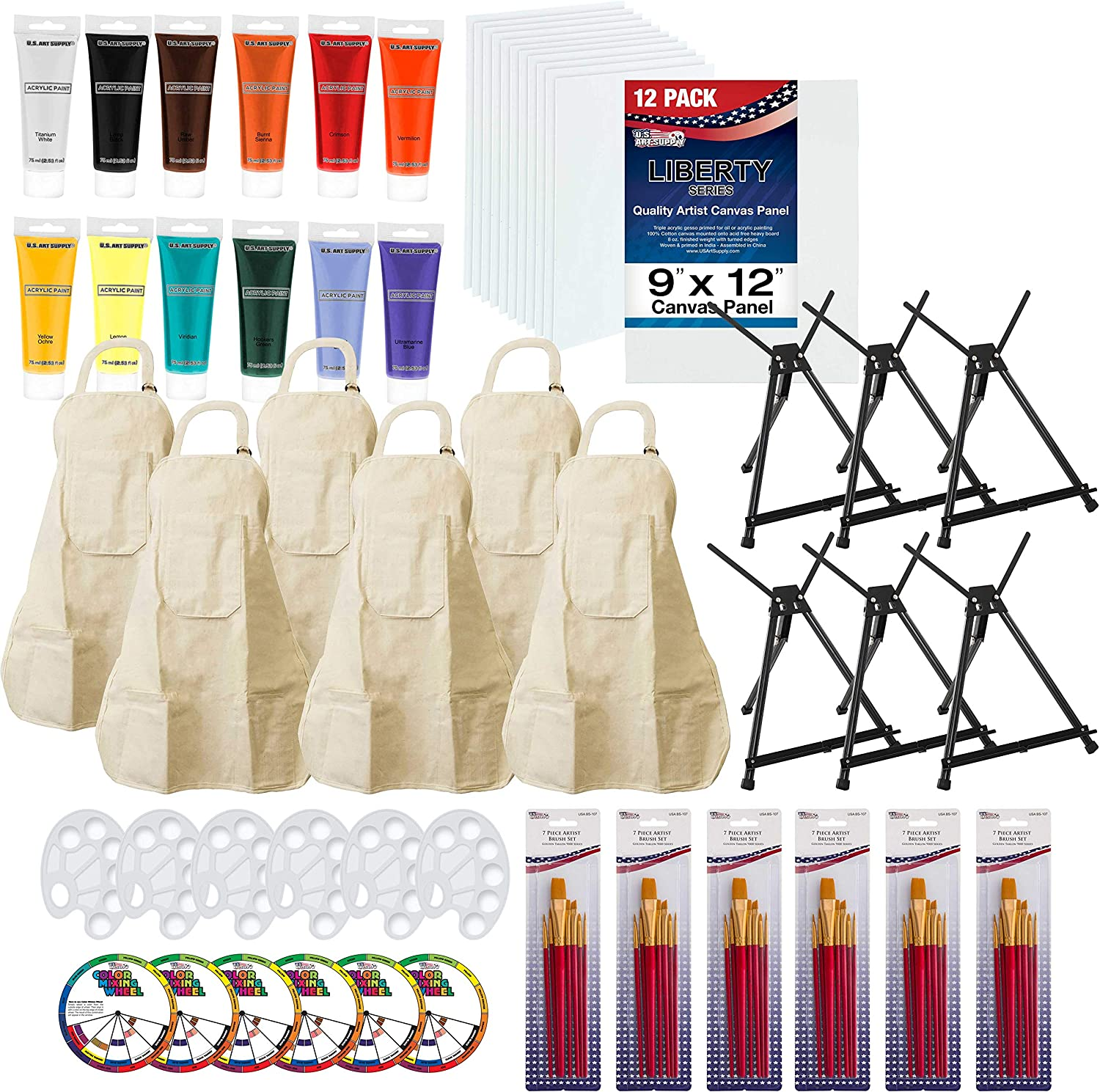 U.S. Art Supply Paint and Sip Art Party Painting Kit - 6 Easels, 12 Paint Tube Set, 12 Canvas Panels, 6 Brush Sets & 6 Aprons