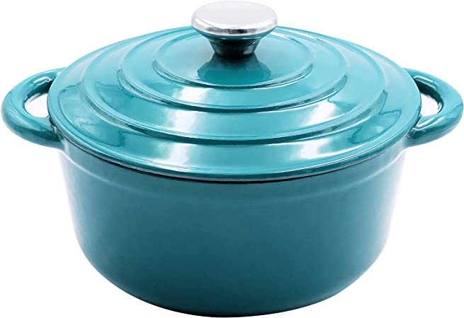 AIDEA Dutch Oven Enameled Cast Iron Round, Bread Baking Pot with Lid 3-Quart Natural Non-Stick Slow Cook Self-Blue