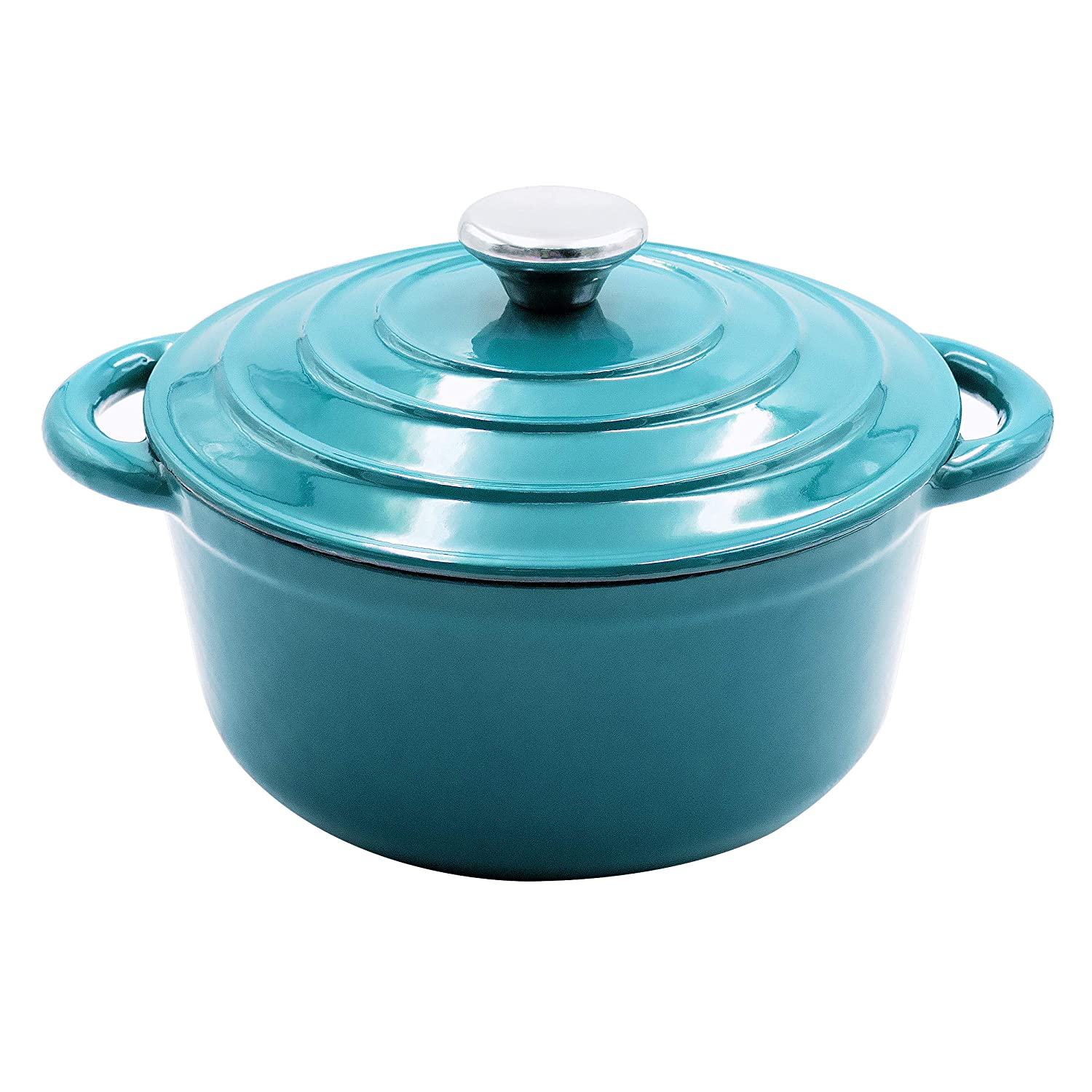 Enameled Cast Iron Dutch Oven - 3-Quart Turquoise Blue Round Ceramic Coated Cookware French Oven with Self Basting Lid by AIDEA