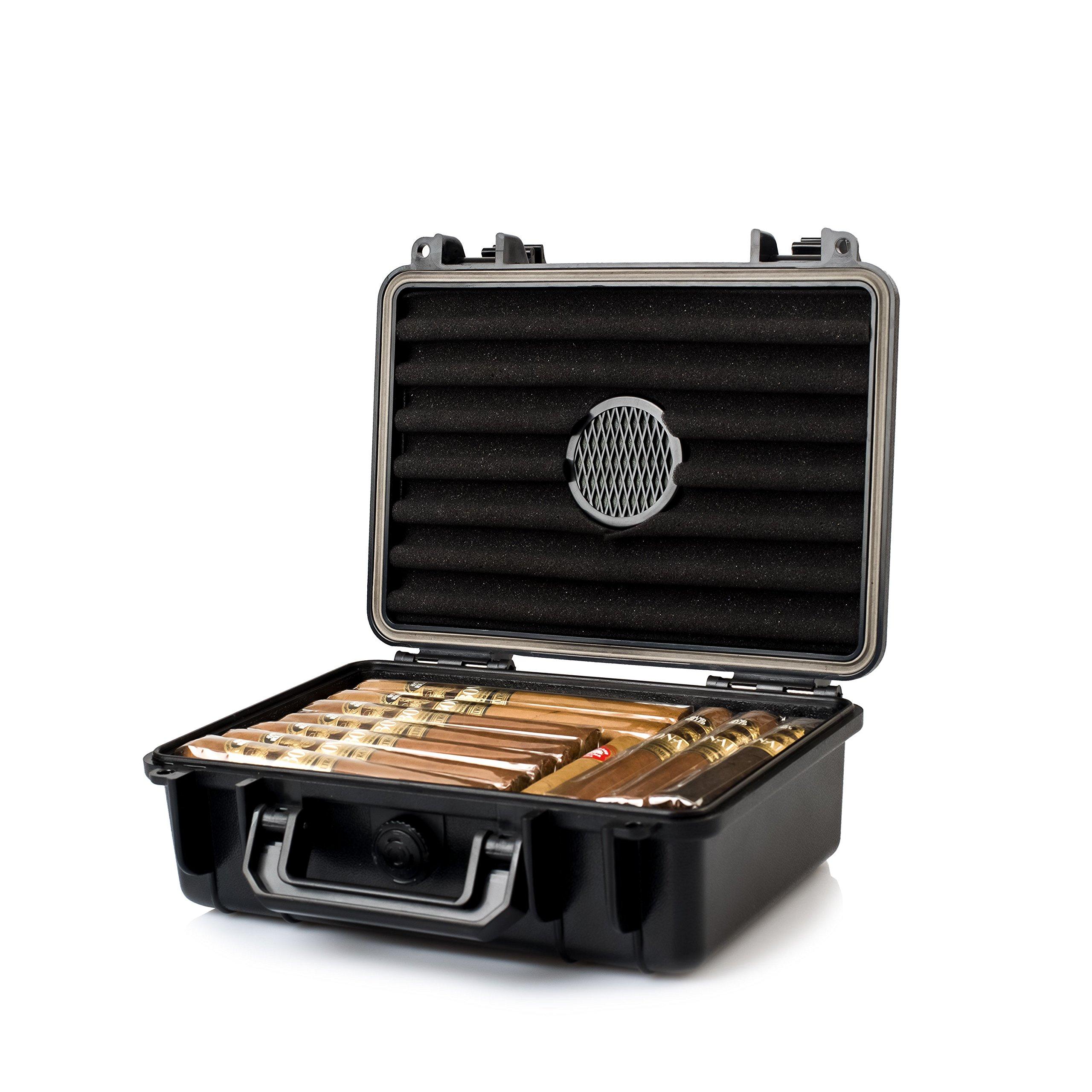 Jamestown Cigar Medium Plastic Travel Humidor Case - Waterproof, Dustproof, Shockproof Premium Plastic Hard Shell Case - Built in Foam Humidor and Holds up to 30 Full-Sized Cigars