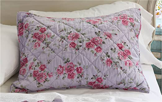 1 Pink Blue Gray ROSE Floral Ruffled PILLOW SHAM SHABBY CHIC CHOOSE*